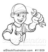 Vector Illustration of a Lineart Happy Male Mechanic Holding a Spanner Wrench and Giving a Thumb up by AtStockIllustration