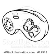 Vector Illustration of a Lineart Video Game Controller by AtStockIllustration