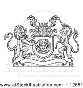 Vector Illustration of a Lion and Unicorn Flanking a Shield over a Blank Banner - Black Outline by AtStockIllustration