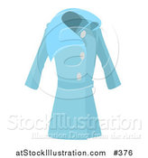 Vector Illustration of a Long Blue Ladies Coat by AtStockIllustration