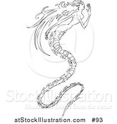 Vector Illustration of a Long Haired Mermaid with a Long, Spiny, Dragon-like Tail by AtStockIllustration