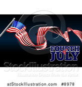 Vector Illustration of a Long Waving American Flag and Fourth of July Text on Black and Dark Blue by AtStockIllustration
