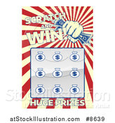 Vector Illustration of a Lottery Instant Scratch and Win Scratchcard with a Fist Holding Cash and Rays by AtStockIllustration