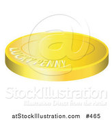 Vector Illustration of a Lucky Golden Penny Coin by AtStockIllustration