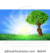 Vector Illustration of a Lush Tree and Grass at Sunrise by AtStockIllustration