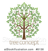 Vector Illustration of a Lush Tree with a Brown Trunk and Green Leaves, over Sample Text by AtStockIllustration