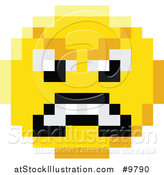 Vector Illustration of a Mad 8 Bit Video Game Style Emoji Smiley Face by AtStockIllustration