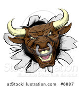 Vector Illustration of a Mad Aggressive Brown Bull Breaking Through a Wall by AtStockIllustration