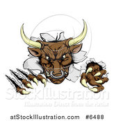 Vector Illustration of a Mad Aggressive Bull Monster Clawing Through a Wall by AtStockIllustration