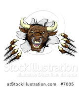 Vector Illustration of a Mad Aggressive Clawed Bull Monster Slashing Through a Wall by AtStockIllustration