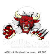 Vector Illustration of a Mad Aggressive Clawed Red Bull Monster Slashing Through a Wall 2 by AtStockIllustration