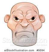 Vector Illustration of a Mad and Mean Bald Caucasian Man's Face by AtStockIllustration