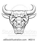 Vector Illustration of a Mad Black and White Bull Mascot Head by AtStockIllustration
