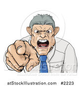Vector Illustration of a Mad Boss Pointing Spitting and Yelling by AtStockIllustration