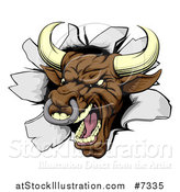 Vector Illustration of a Mad Brown Bull Breaking Through a Wall by AtStockIllustration