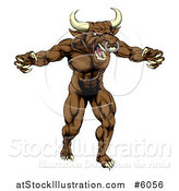 Vector Illustration of a Mad Brown Bull Man Monster Mascot Attacking by AtStockIllustration