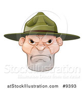 Vector Illustration of a Mad Caucasian Male Army Boot Camp Drill Sergeant Face by AtStockIllustration