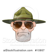 Vector Illustration of a Mad Caucasian Male Army Boot Camp Drill Sergeant Face with Sunglasses by AtStockIllustration