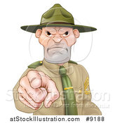 Vector Illustration of a Mad Caucasian Male Army Boot Camp Drill Sergeant Pointing at You by AtStockIllustration