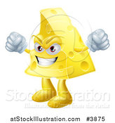Vector Illustration of a Mad Cheese Wedge Waving Fists by AtStockIllustration