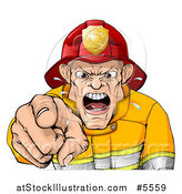 Vector Illustration of a Mad Fireman Pointing Outwards and Shouting by AtStockIllustration
