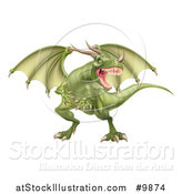 Vector Illustration of a Mad Green Dragon with a Horned Nose by AtStockIllustration
