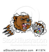 Vector Illustration of a Mad Grizzly Bear Mascot Breaking Through a Wall and Holding a Video Game Controller by AtStockIllustration