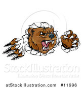 Vector Illustration of a Mad Grizzly Bear Mascot Breaking Through a Wall by AtStockIllustration