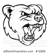 Vector Illustration of a Mad Grizzly Bear Mascot Head, Black and White by AtStockIllustration