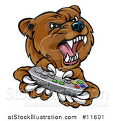 Vector Illustration of a Mad Grizzly Bear Mascot Holding a Video Game Controller by AtStockIllustration