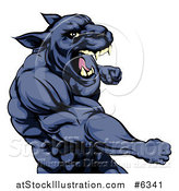 Vector Illustration of a Mad Muscular Black Panther Man Mascot Punching by AtStockIllustration