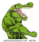 Vector Illustration of a Mad Muscular Crocodile or Alligator Man Punching by AtStockIllustration