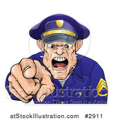 Vector Illustration of a Mad Police Officer Spitting Shouting and Pointing Outwards by AtStockIllustration