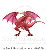 Vector Illustration of a Mad Red Dragon with a Horned Nose by AtStockIllustration