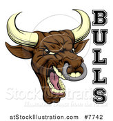 Vector Illustration of a Mad Screaming Brown Bull Mascot Head and Text by AtStockIllustration