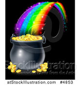 Vector Illustration of a Magic Rainbow Ending at a Pot of Gold over Black by AtStockIllustration