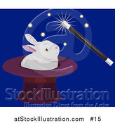 Vector Illustration of a Magician Using a Magic Wand to Make a White Rabbit Appear in a Hat by AtStockIllustration