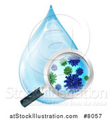 Vector Illustration of a Magnifying Glass Discovering Microscopic Bacteria in a Water Drop by AtStockIllustration