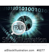 Vector Illustration of a Magnifying Glass Focused on FRAUD over a Globe, Burst and Binary Code by AtStockIllustration