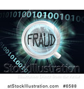 Vector Illustration of a Magnifying Glass Focused on FRAUD over Earth, a Burst and Binary Code by AtStockIllustration