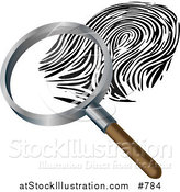Vector Illustration of a Magnifying Glass Inspecting a Fingerprint by AtStockIllustration
