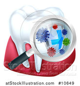 Vector Illustration of a Magnifying Glass over a Tooth and Gums, Displaying Bacteria and a Shield by AtStockIllustration