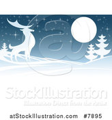 Vector Illustration of a Majestic Buck Deer in a Hilly Winter Landscape Under a Full Moon at Night by AtStockIllustration