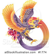 Vector Illustration of a Majestic Oriental Purple Phoenix by AtStockIllustration