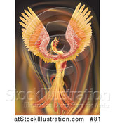 Vector Illustration of a Majestic Phoenix Firebird Stretching Its Wings over a Fiery Background by AtStockIllustration