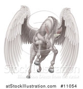 Vector Illustration of a Majestic White Winged Horse Pegasus Flying Forward by AtStockIllustration