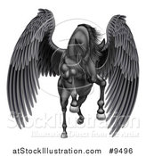Vector Illustration of a Majestic Winged Black Horse Pegasus Flying Forward by AtStockIllustration