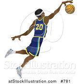 Vector Illustration of a Male African American Basketball Athlete Jumping with the Ball by AtStockIllustration
