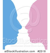 Vector Illustration of a Male and Female Face Profiles Facing Each Other by AtStockIllustration