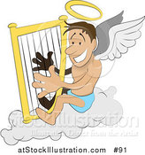 Vector Illustration of a Male Angel with a Halo and Wings, Sitting on a Cloud and Playing a Harp by AtStockIllustration